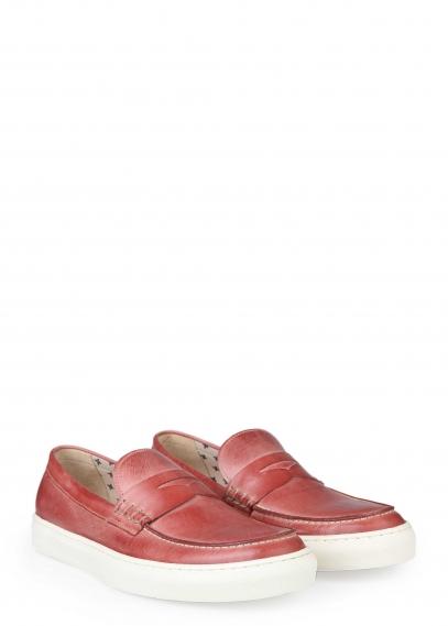 02-210-03-4 (красный) Слиперы кожа/текстиль